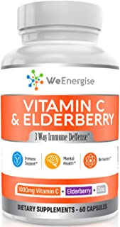 Vitamin C 1000mg & Elderbery Capsules - Highly Potent Vitamin C with Zinc and Elderberry for Immune Support - Easy to Swal...