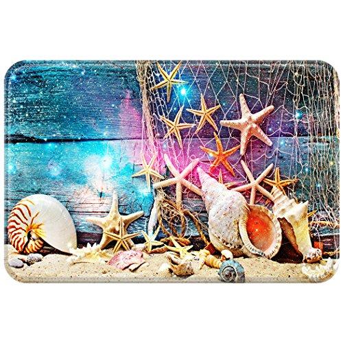 YISUMEI Alfombra Puerta Alfombrilla Felpudo Felpudo Playa Estrella de mar Conchas Madera Galaxy, poliéster, Weiß, 40 x 60 cm