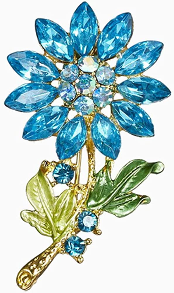 Tennessee526 Badge Fashion Women Rhinestone Flower Shape Brooch Pin Scarfs Clothes Jewelry Gift