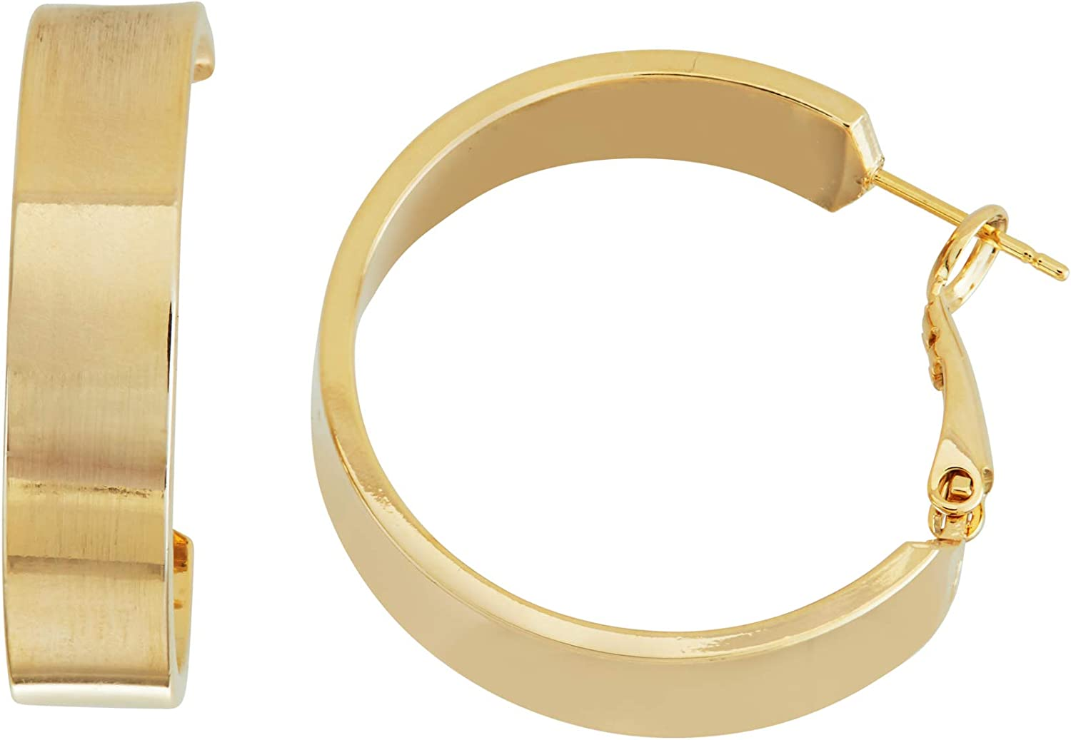 Fine Faux Women's Fashion Accessories 14K Gold Plated Polished Flat Tube Hoop Earrings 7mm X 30mm - Valentines and Birthday Gifts for Her