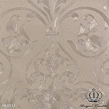 PAPEL PAPEL DE PAREDE COLEÇÃO HARMONIOUS LUXURY - ROYAL CASTLE (HL0011 - Fundo caramelo, desenhos marrom claro brilhoso com pontos de glitter)