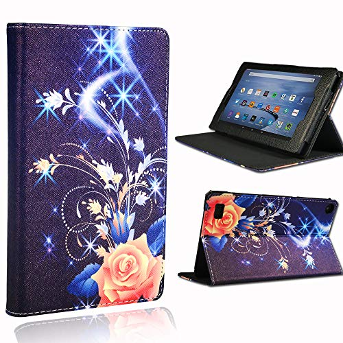 FINDING CASE For Amazon Fire 7 Tablet Case Alexa (9th Gen 2019 & 7th Gen 2017 & 5th Gen 2015 Releases) 7 inch Tablet - Folio Leather PU Smart Folding Protective Stand Cover Case Blue Flame