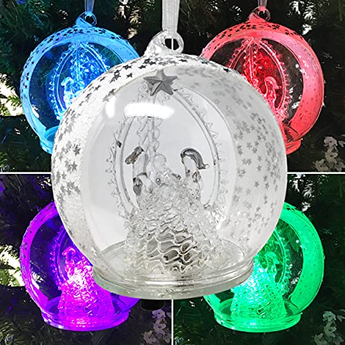 BANBERRY DESIGNS Holy Family Nativity LED Glass Globe Christmas Tree Ornament - Color Changing Lights - Clear Glass with Metallic Silver Stars and Glitter - 4.5 Inch Diameter