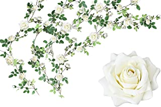 Luyue Artificial Flowers Silk Rose Garland Wedding Flowers Vines Fake Flowers Silk Roses Garland for Wedding Decorations (White)