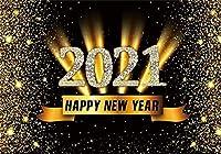 新しい7x5ftゴールデンスパンコール2021写真の背景シャイニードットウィンターホリデーフェスティバルお祝い新年あけましておめでとうございます背景家族子供女の子ポートレート写真撮影小道具ビニール