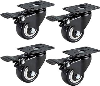 Trolley Zwenkwiel, 4 Stuks PU Zwenkwielen, Meubel Zwenkwiel, Zwenkwielen met Remmen, Draagvermogen 50 kg per Wiel, voor Tr...