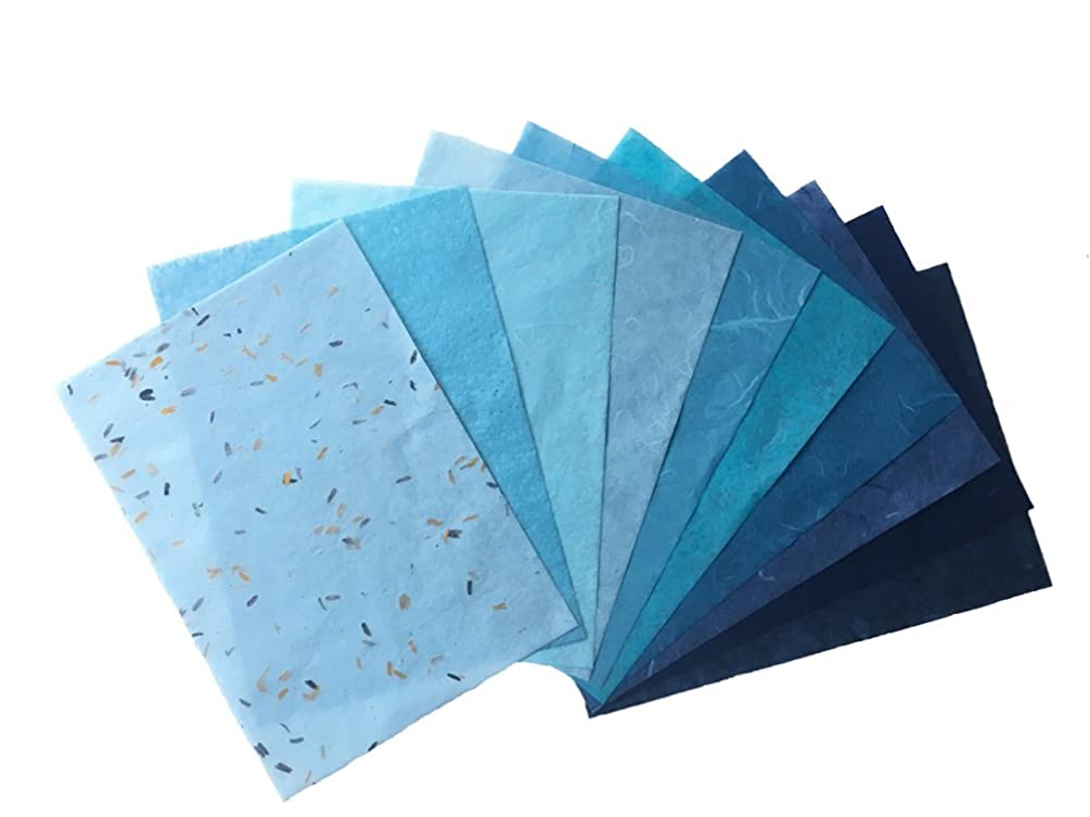 RATREE SHOP 10 Mixed Blue Mulberry Paper Sheet Design Craft Hand Made Art Tissue Japan Origami Washi Wholesale Bulk Sale Unryu Suppliers Card Making Washi Paper Sheets (No07)