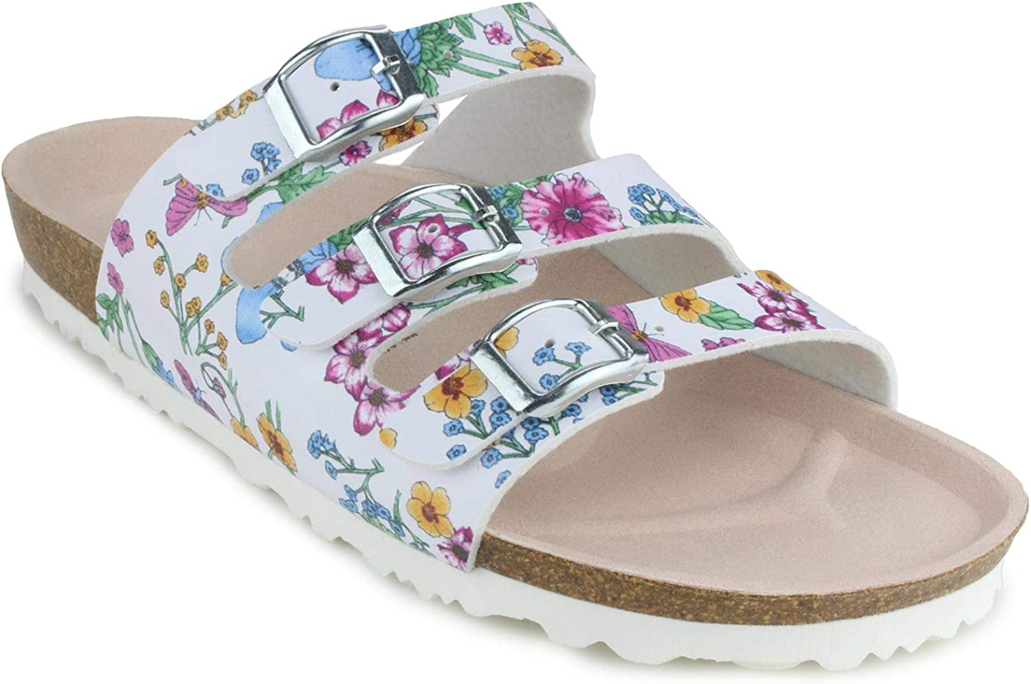 JOE N JOYCE   Paris Flower  Womens Cork-Sandal SynSoft Comfort-Footbed   Strap