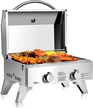 LDAILY Moccha Stainless Steel Propane Tabletop Gas Grill Two-Burner BBQ, with Foldable Leg, 20000 BTU, Perfect for Camping, P