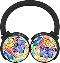 Running Headphones Colorful Pug Bluetooth Headphones Unisex Over-Head Subwoofer Wireless Headset Built-in Mic Reduce Noise