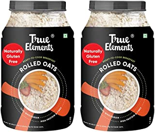 True Elements Rolled Oats (1.2 kg * 2) - Cereal for Breakfast, Plain Oats, Rolled Oats Gluten Free, Diet Food Combo