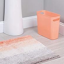 mDesign Ombre Microfiber Bathroom Accent Rug, Wastebasket Trash Can - Set of 2, Coral Multi