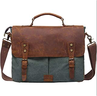 Leather Vintage Canvas Laptop Bag,Canvas Bag Grey,Business Bags for Men,Canvas Bag