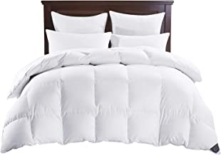 PUREDOWN White Down Comforter, Year Round Use, 100%Cotton, 600 Fill Power, 233 Thread Count , Full/Queen Size, White