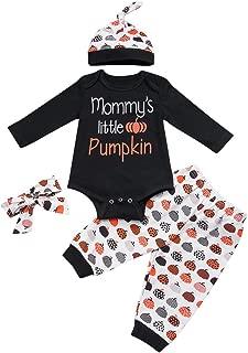 Cool980s 3PCS Newborn Boys' Outfit Set Halloween Pumpkin Costume Long Sleeve Romper Mommy's Little Pupkin