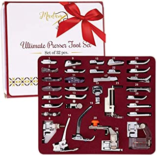 Madam Sew Presser Foot Set 32 PCS - The ONLY Sewing Machine Presser Foot Kit with Manual, DVD and Deluxe Storage Case with...