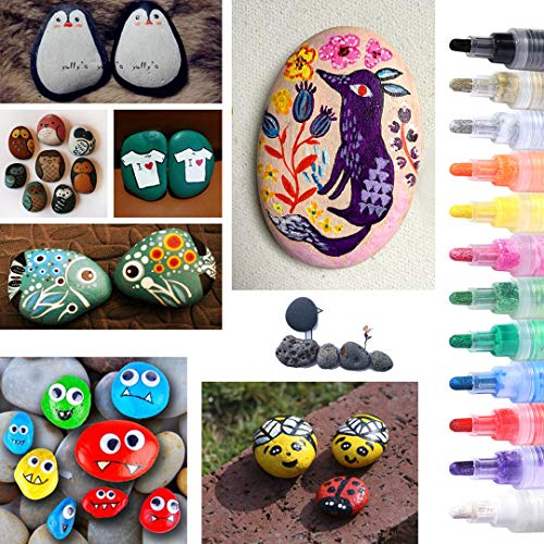 Acrylic Paint Marker Pens for Rocks Painting, DIY Kids Craft Making Supplies Acrylic Paint Pens for Egg, Metal,Stone, Wood, Glass, Ceramic, Fabric, Mugs, Paints for Kids Acrylic Paint Kits (12 Colors) Photo #7