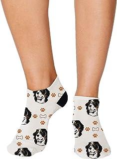 No Show Socks Bernese Mountain Dog Bones Paws Polyester Ankle Socks Women & Men Crazy Fun Socks 1 Size