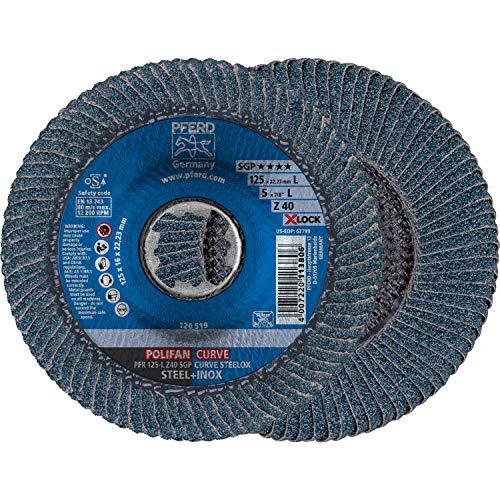 PFERD Fächerscheibe POLIFAN CURVE, 10 Stück, 125mmx14mm, Z40, X-LOCK (22,23 mm), SGP STEELOX, 67689063 – für die präzise Kehlnahtbearbeitung