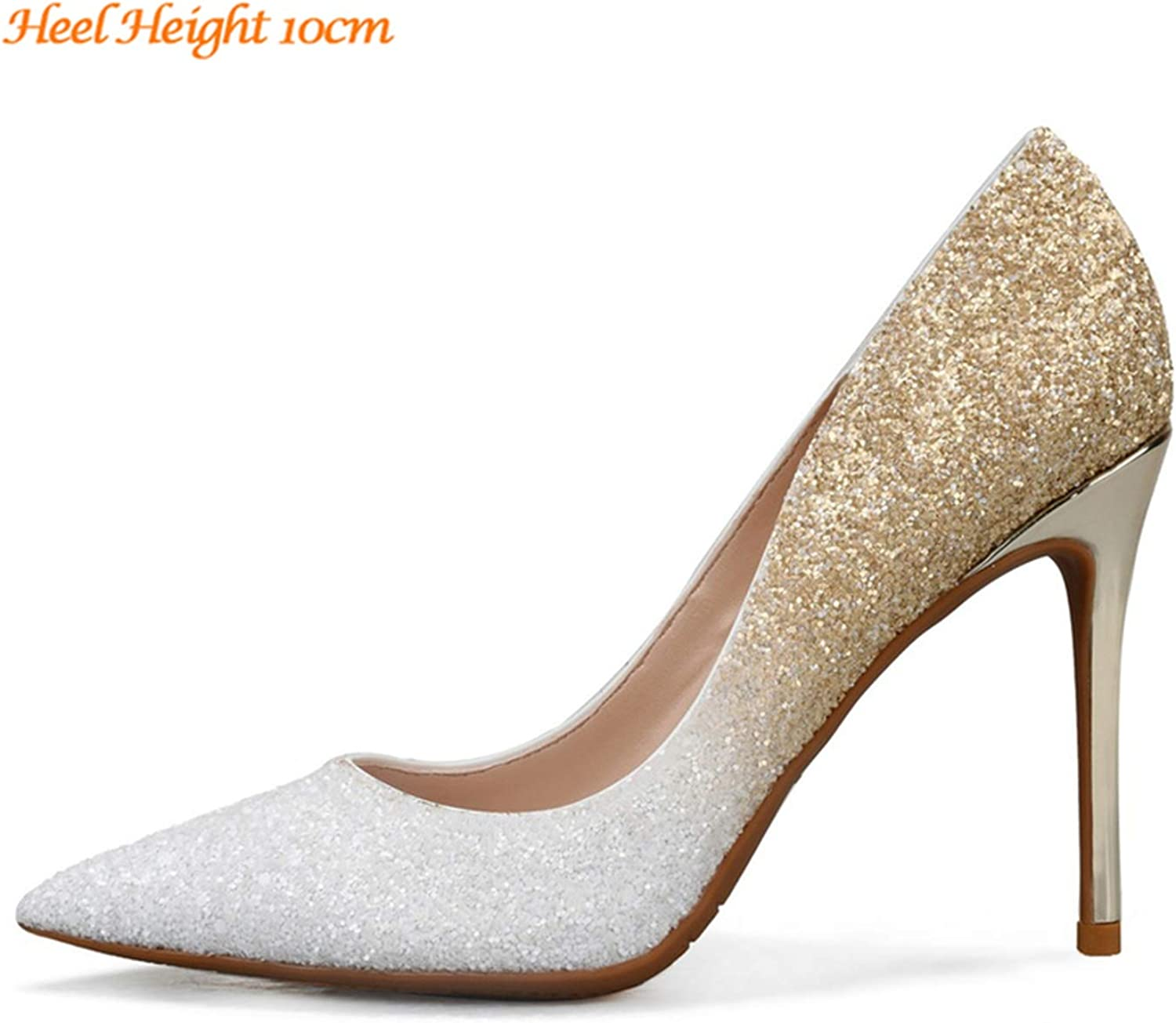 JIESENGTOO Women Sexy Wedding Bride Glitter Scarpins Fetish Classic High Heels Plus Size 46 Pumps