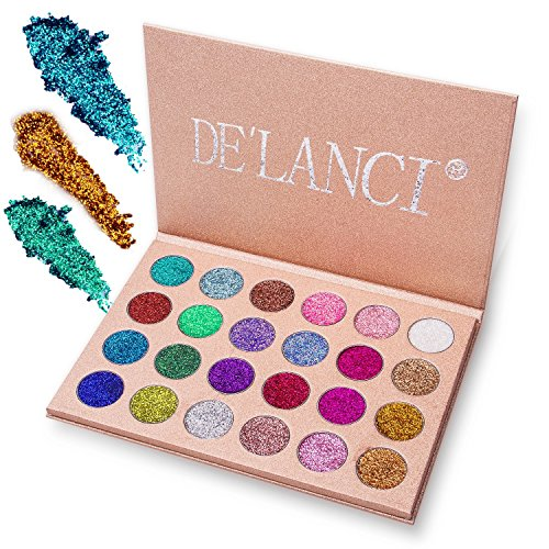 DE'LANCI Pressed Glitter Eyeshadow Palette - Professional Makeup Metallic Glitter Highly Pigmented Ultra Shimmer Makeup Pallet Eye Shadows Flash Color Cosmetic Set(Cruelty Free,24 Color)