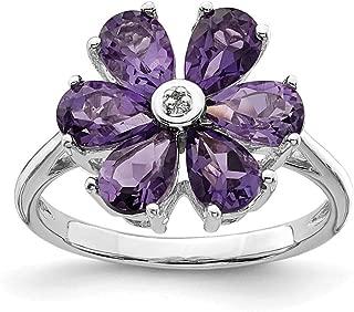 925 Sterling Silver Purple Amethyst Diamond Flower Band Ring Stone Flowers/leaf Gemstone Fine Jewelry For Women Gift Set