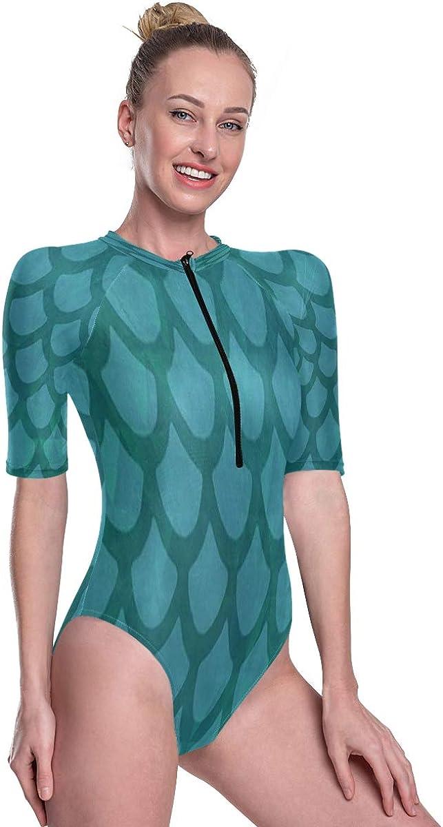 SLHFPX Women's One Piece Short Sleeve Rashguard Surf Swimsuit Mermaid Bathing Suit
