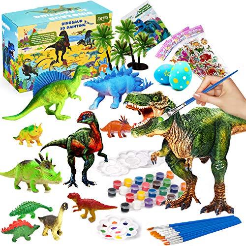 Joyjoz Kit de Peinture de Dinosaure pour Enfants - 38 Pcs Figurines Dinosaures en 3D Peinture Activités Manuelles et DIY Loisir Créatif, Cadeaux d'Anniversaire ou de Noël pour Enfants