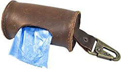 Hide & Drink, Durable Thick Leather Dog Poop Bag Dispenser w/Belt Attachment/Dog Walkers, Includes 101 Year Warranty Handmade :: Bourbon Brown