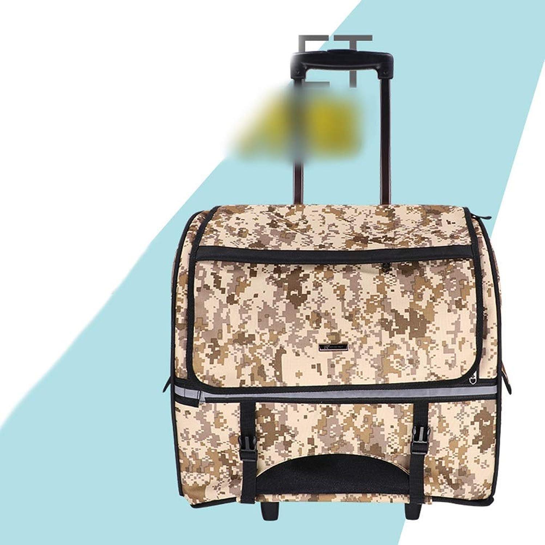 FELICIGG Pet Backpack Pet Trolley Case Multifunction Dog Out Backpack (color   Camouflage, Size   44  23  39cm)