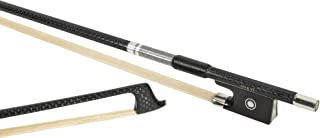 MI&VI NEW Professional Carbon Fiber Weave Violin Bow (Full Size 4/4) with FREE Bow Case| Ebony Frog |Silver Winding Mount |Well Balanced|Perfect Weight |Premium Mongolian Horse Hair-By MIVI Music