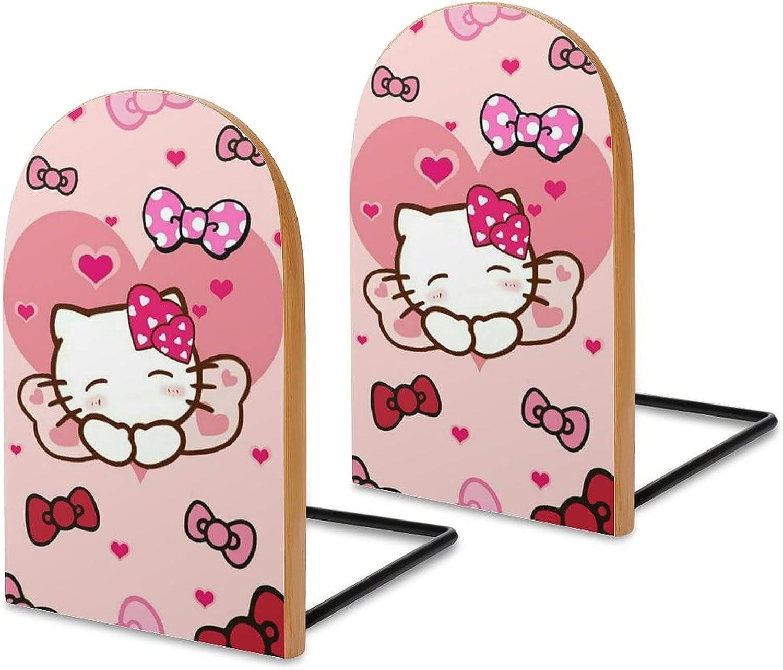 KRISMARIO Hello Kitty Bows 2pcs Heavy Wood Logs Bookends Modern