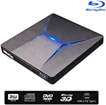 External Bluray DVD Drive, MthsTec USB 3.0 and Type-C Blu-Ray DVD Burner 3D Slim Optical..