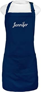 Kaufman - Personalized Apron, Add a Name Embroidered Design, Cotton/Poly Bib Apron Adjustable with Two Front Pockets (Navy)