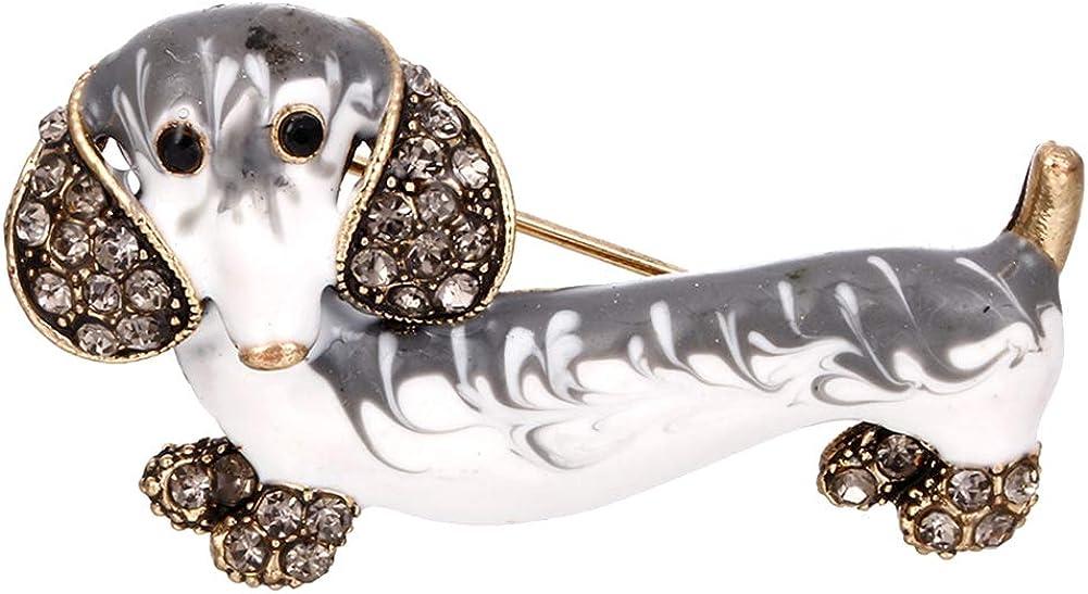 HaHawaii Brooch Award Pin Cute Dachshund Dog Inlaid Baltimore Mall Rhinestone