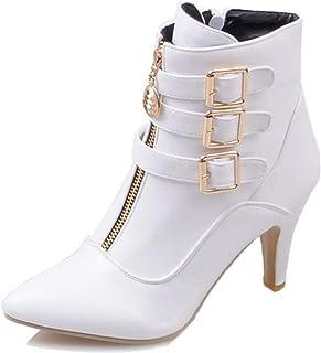 Laarzen voor dames Stijlvol met hak Enkellaarzen Spitse neus Hoge hakken Herfst Winter Mode Gesp Korte laarzen