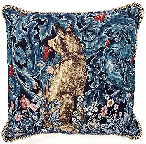 Signare Tapestry Cushion Cover 18 x18 inches 45cm x 45cm Decorative Sofa Cushions with Lion and Forest by William Morris (The Fox, CCOV-ART-MORRIS-6)