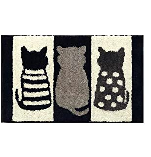 YSHYT Household Absorbent Carpet - Large Capacity Absorbent - Towel-Like Soft Skin, TPR Strong Non-Slip - No Lint Design - Black and White Cat Style,B