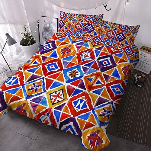 Juego de cama de 3 piezas con diseño de mosaico de acuarela con colcha étnica bohemia Ikat (individual)