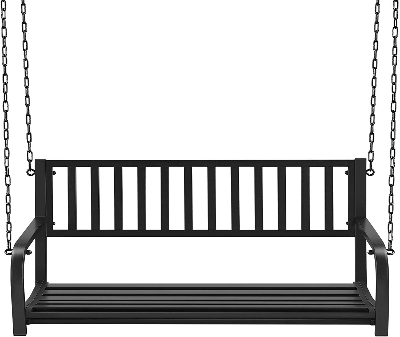 Yaheetech Hanging Bench 即納最大半額 Swing Patio Iron 専門店 Porch Cast Metal
