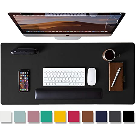 Aonewoe PU Leather Desk Mat Large Office Desk Protective Pad Computer Keyboard Mouse Pad Waterproof Non-Slip Leather Gaming Mat for Office Home Double Side Black//Red 90x44cm