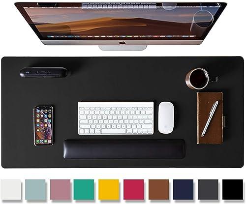 Aothia Tapis de bureau,tapis de souris,tapis de bureau,80x40cm,buvard de bureau en cuir PU antidérapant, protecteur d...