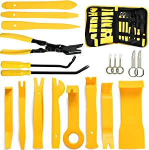19pcs Car Trim Removal Tool Auto Door Panel Removal Tool Set with Clip Plier Set  amp  Fastener Remover for Dash Center Console Audio Radio Removal Installation and Remover Strong Nylon Pry Tool Kit