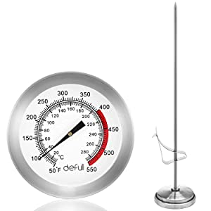 Deep Fry Thermometer with Clip Instant Read Dial Thermometer Meat Thermometer Food Thermometer for Home Cooking Thermometer (Silver, 9 inch)…