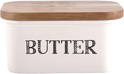 Creative Tops &Quot;Bake Stir It up Butterdose aus Steingut mit Deckel aus Akazienholz, groß, Weiß preisvergleich bei geschirr-verleih.eu