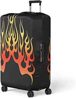 Pinbeam Luggage Cover Flame Fire Colored Tribal Flames Tattoos and As Travel Suitcase Cover Protector Baggage Case Fits 26-28 inches