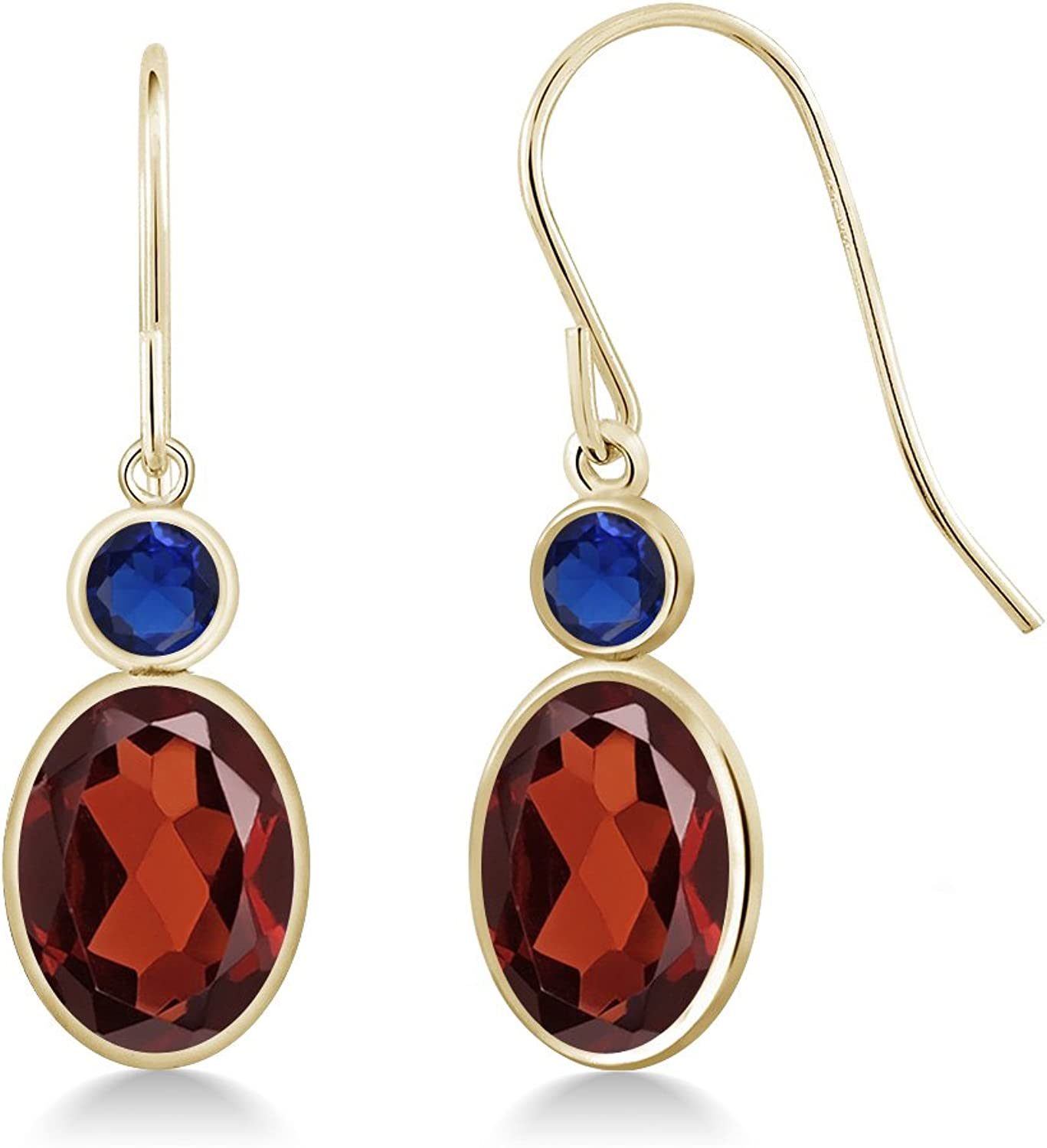 2.66 Ct Oval Red Garnet bluee Simulated Sapphire 14K Yellow gold Earrings