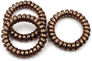 Rougecaramel Gumki do włosów ze spiralą, kolor brązu, 3 sztuki