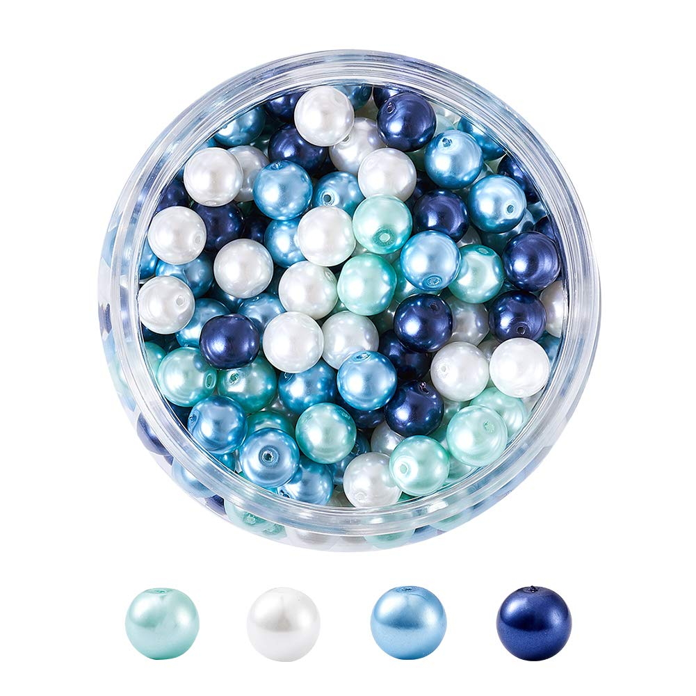 400pcs 4mm Dyed Round Glass Pearl Beads Strands DIY Jewelry Making