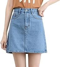 Minuoyi High Waist Pockets A-line Denim Skirt Various Size